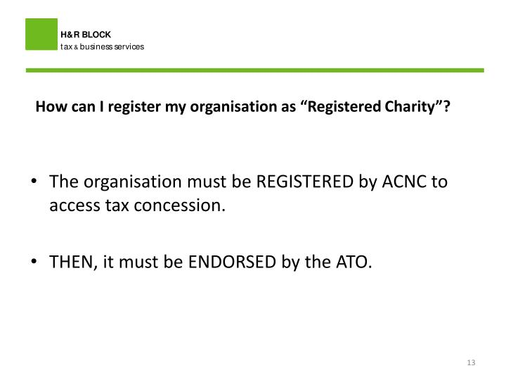 """How can I register my organisation as """"Registered"""