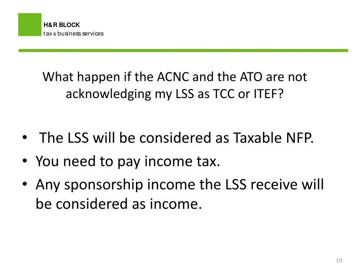 What happen if the ACNC and the ATO