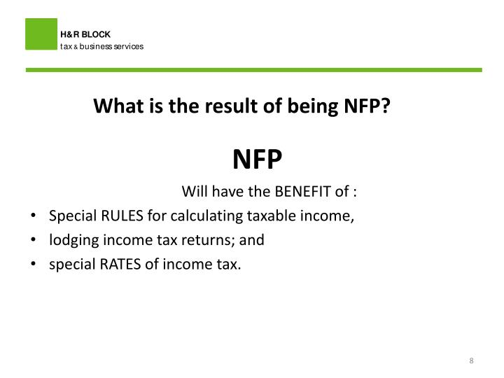 What is the result of being NFP?