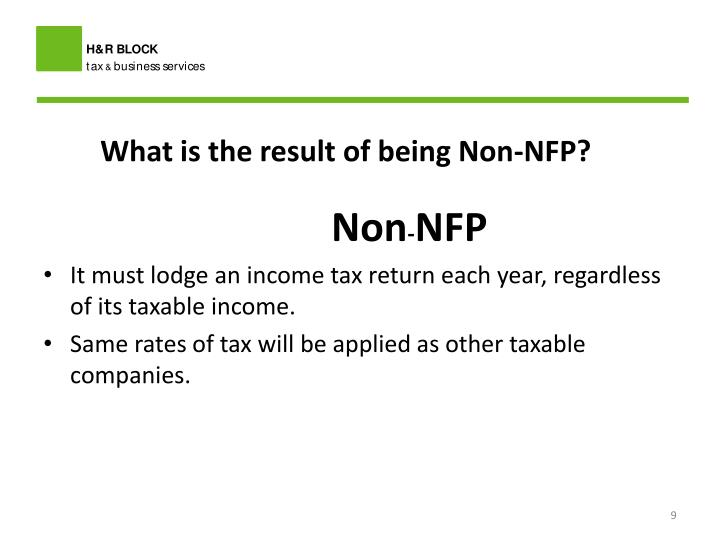 What is the result of being Non-NFP?