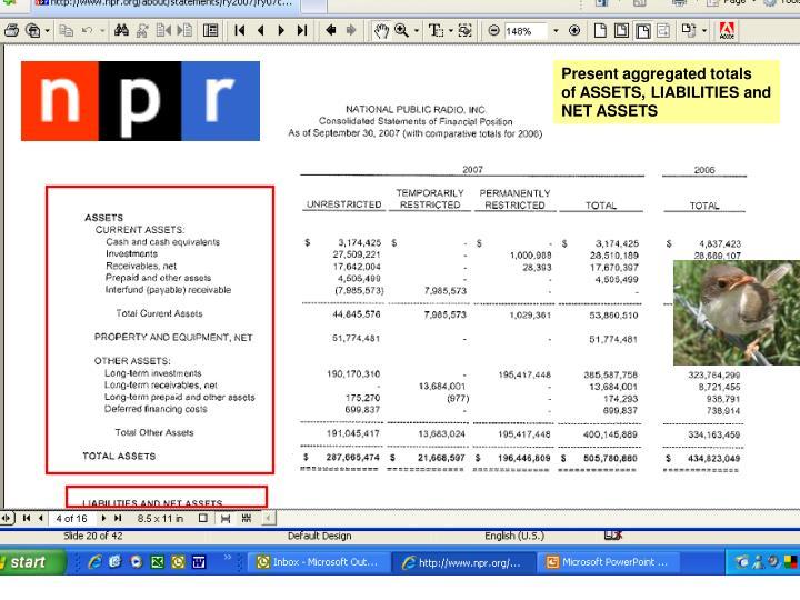 Present aggregated totals
