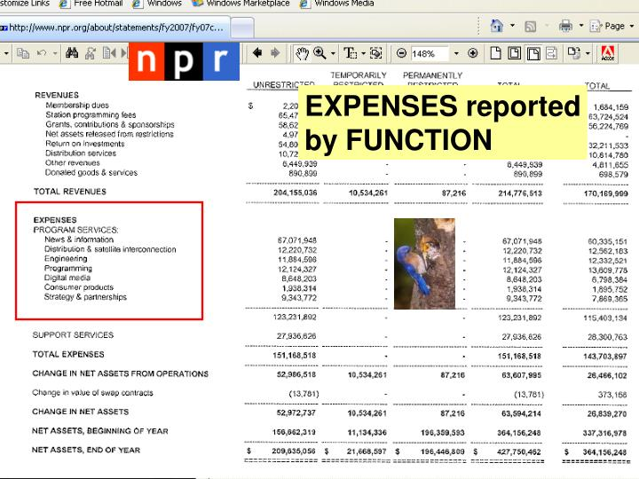 EXPENSES reported