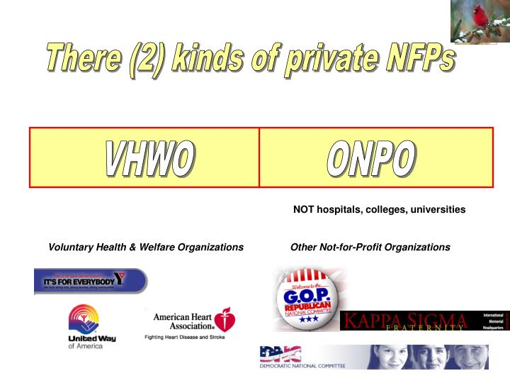 There (2) kinds of private NFPs