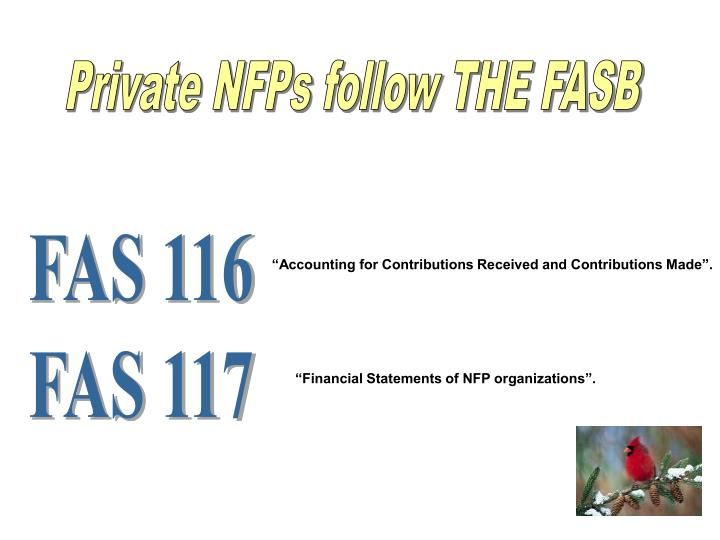 Private NFPs follow THE FASB