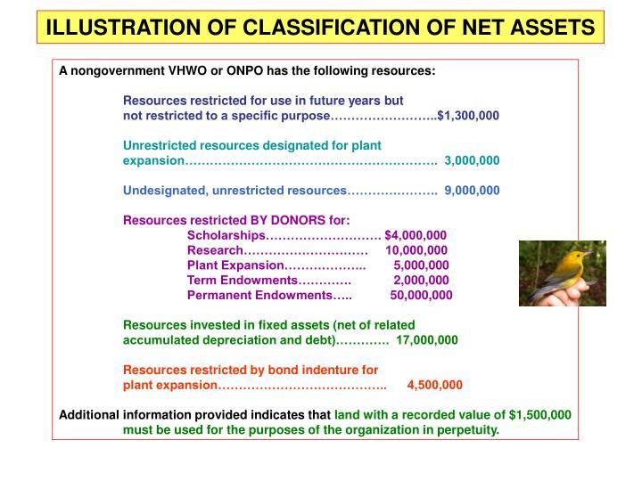ILLUSTRATION OF CLASSIFICATION OF NET ASSETS