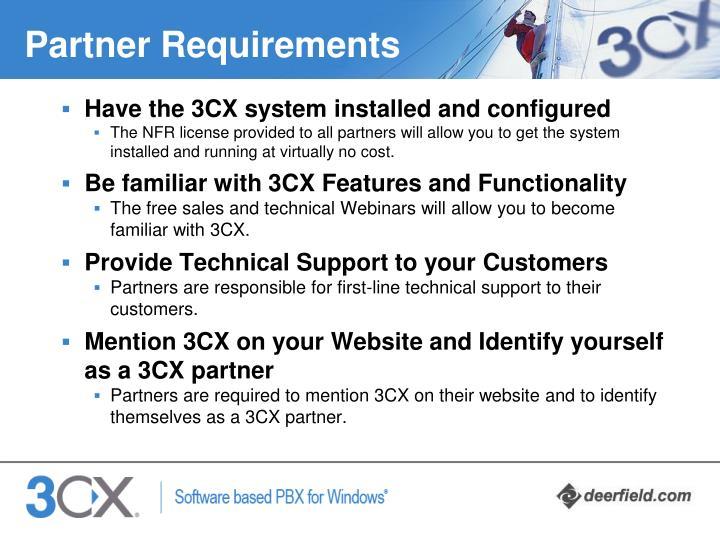 Partner Requirements