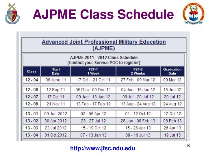AJPME Class Schedule