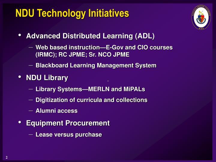 NDU Technology Initiatives