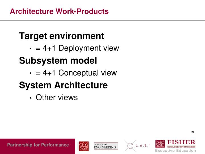 Architecture Work-Products
