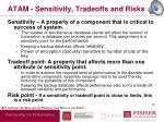 atam sensitivity tradeoffs and risks