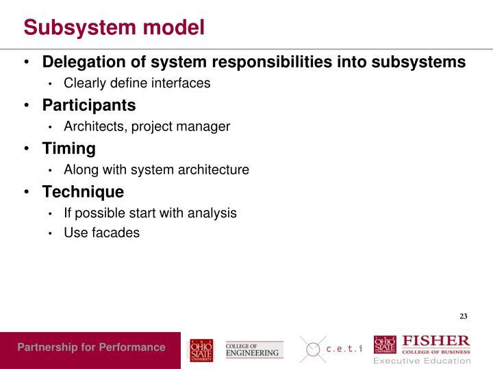Subsystem model