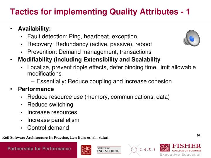 Tactics for implementing Quality Attributes - 1