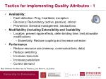tactics for implementing quality attributes 1