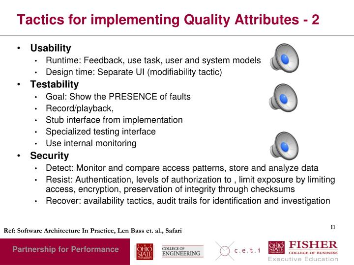 Tactics for implementing Quality Attributes - 2