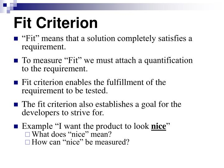 Fit Criterion