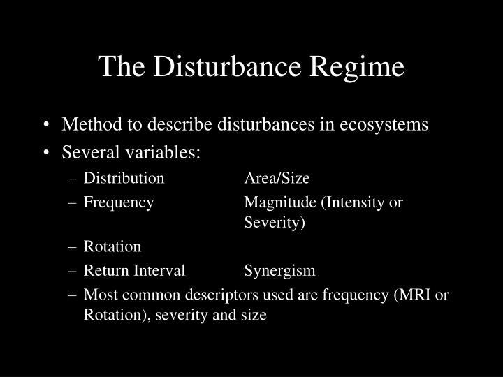 The Disturbance Regime