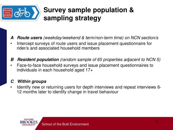 Survey sample population & sampling strategy