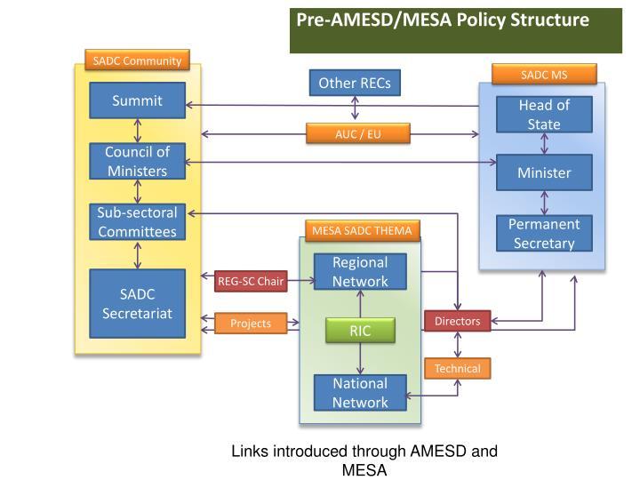 Pre-AMESD/MESA Policy Structure