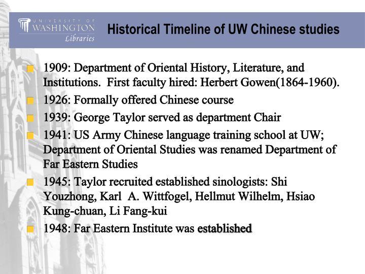 Historical Timeline of UW Chinese studies