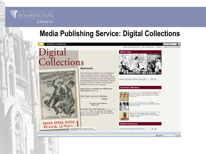Media Publishing Service: Digital Collections