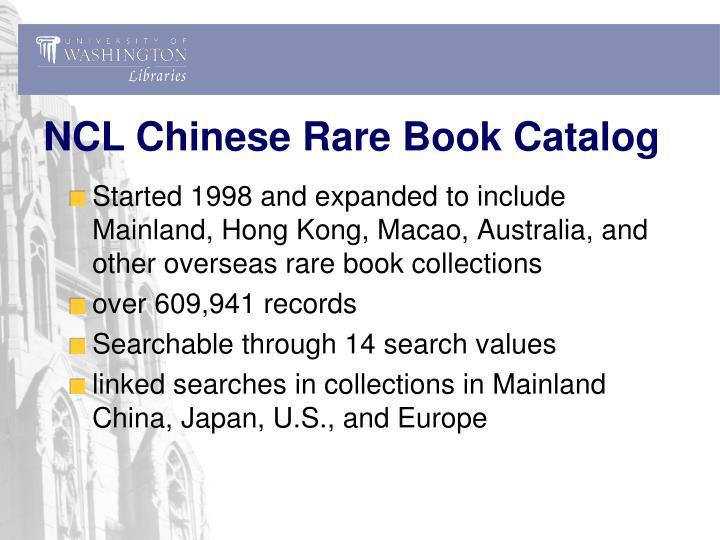 NCL Chinese Rare Book Catalog