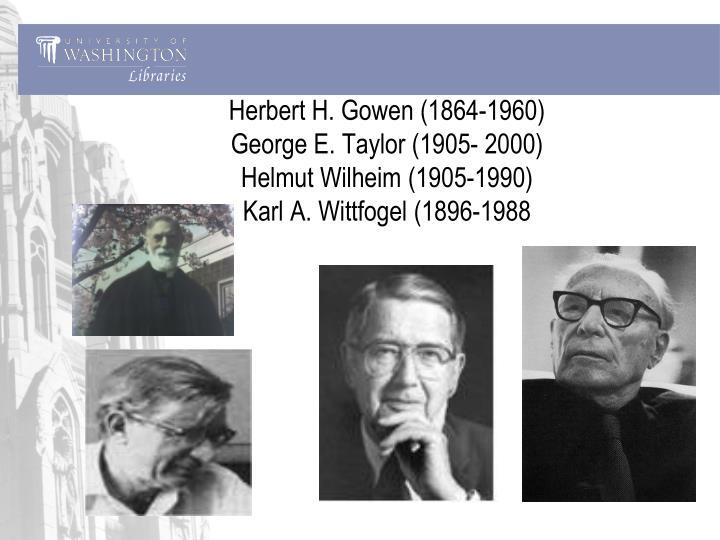 Herbert H. Gowen (1864-1960)