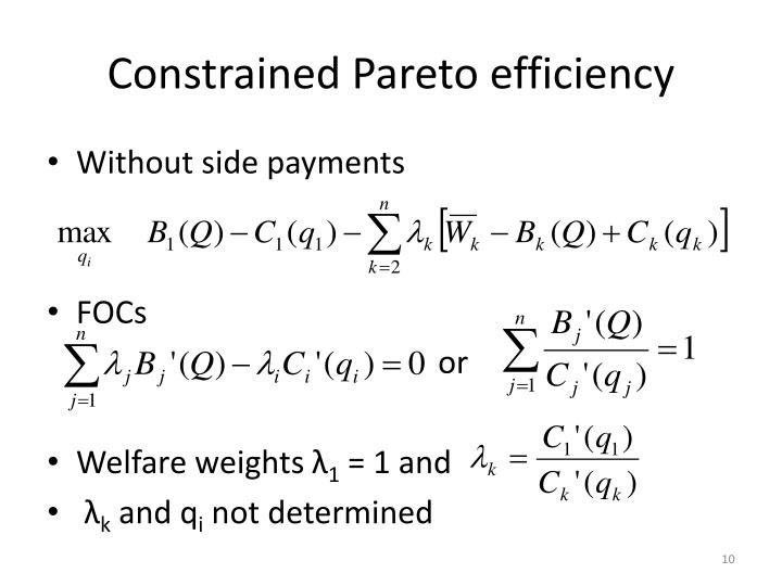 Constrained Pareto efficiency