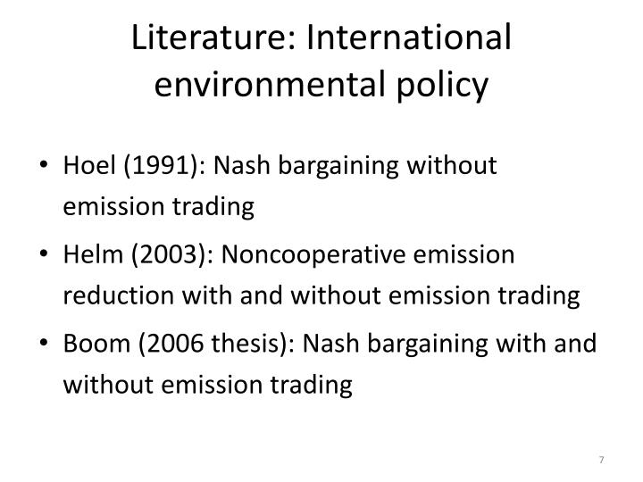 Literature: International environmental policy