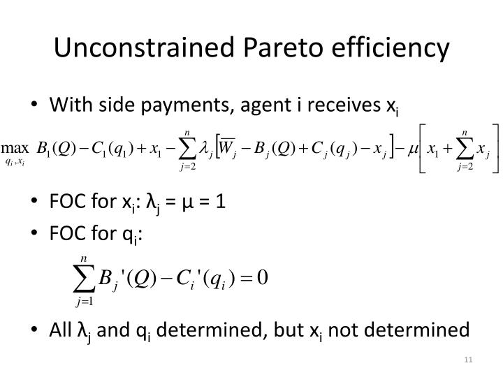 Unconstrained Pareto efficiency