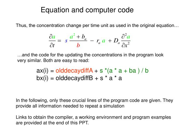 Equation and computer code