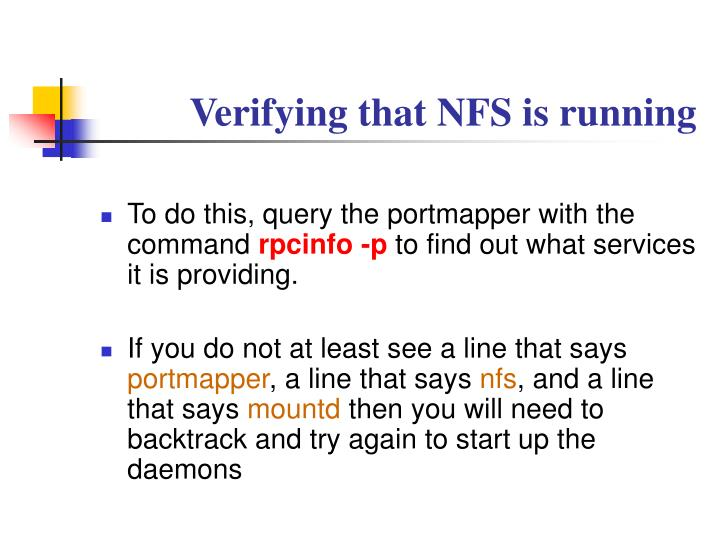 Verifying that NFS is running