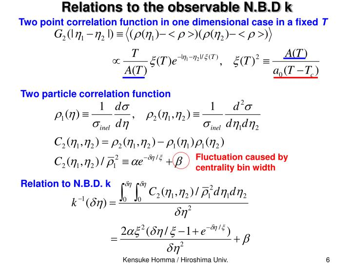Relations to the observable N.B.D k