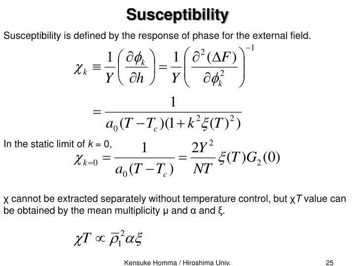 Susceptibility is defined by the response of phase for the external field.