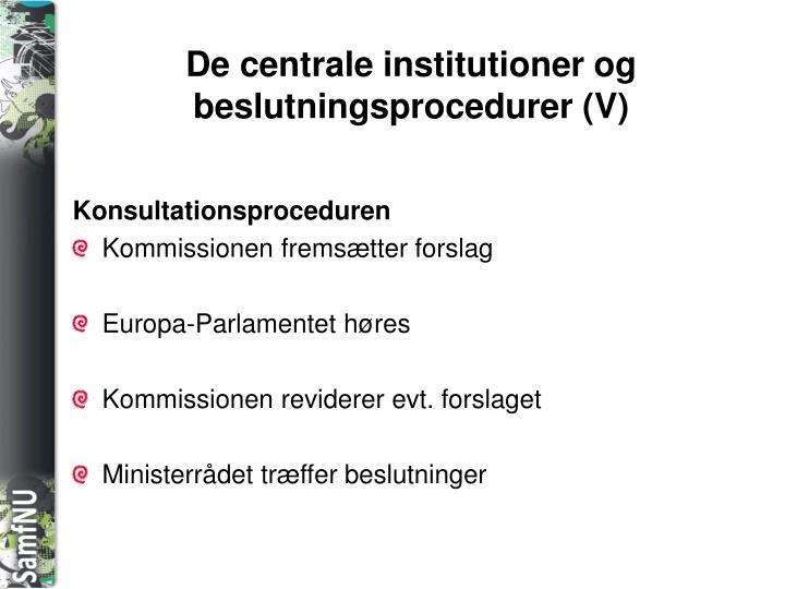 De centrale institutioner og beslutningsprocedurer (V)