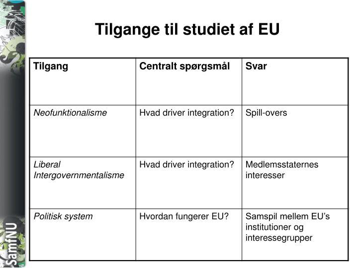 Tilgange til studiet af EU