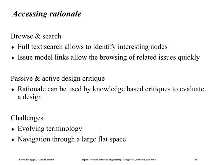 Accessing rationale