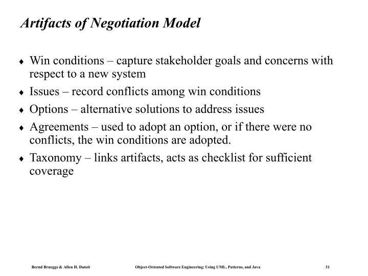 Artifacts of Negotiation Model