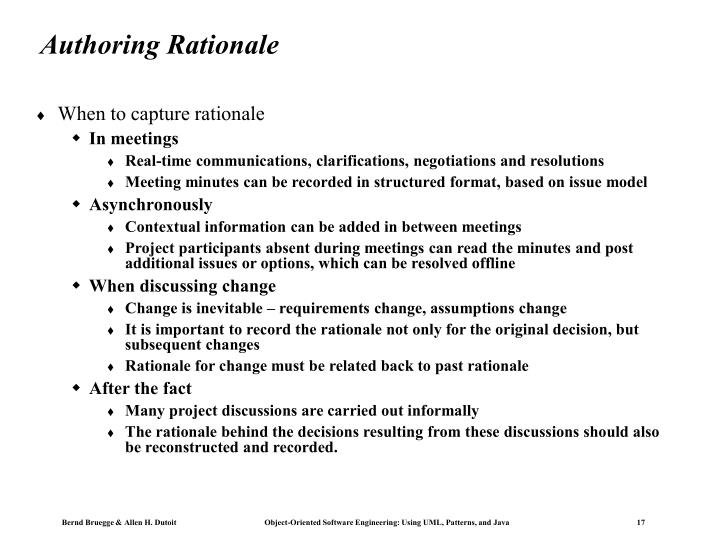 Authoring Rationale