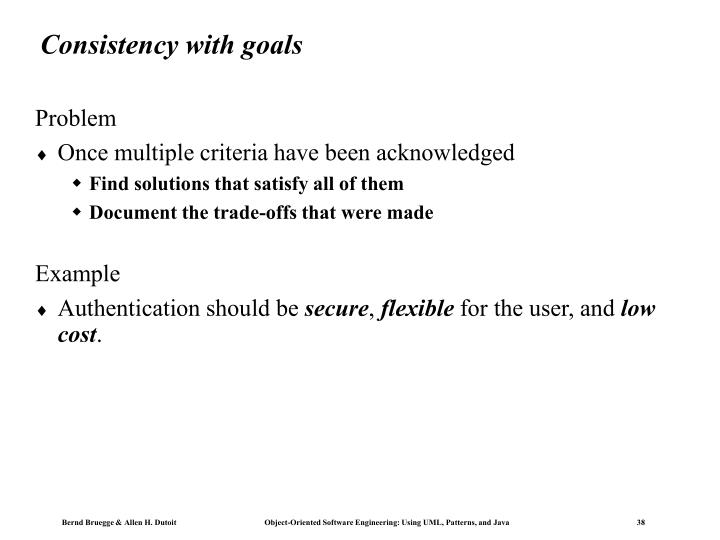 Consistency with goals