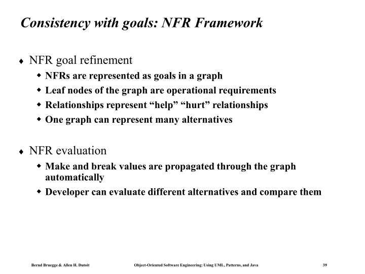 Consistency with goals: NFR Framework