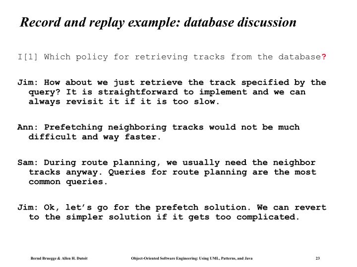Record and replay example: database discussion