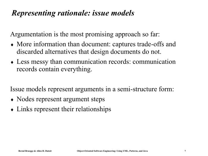 Representing rationale: issue models