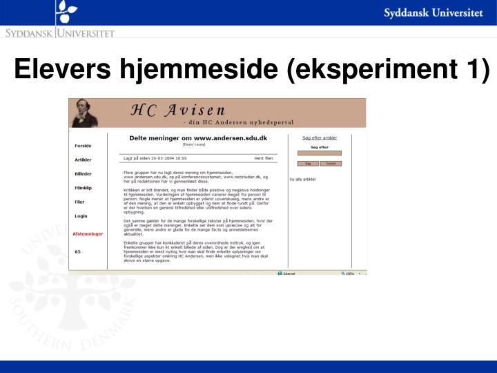 Elevers hjemmeside (eksperiment 1)