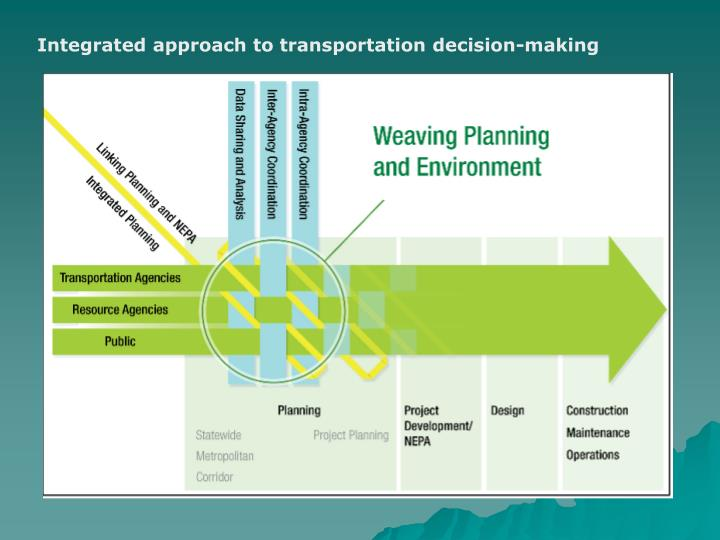 Integrated approach to transportation decision-making