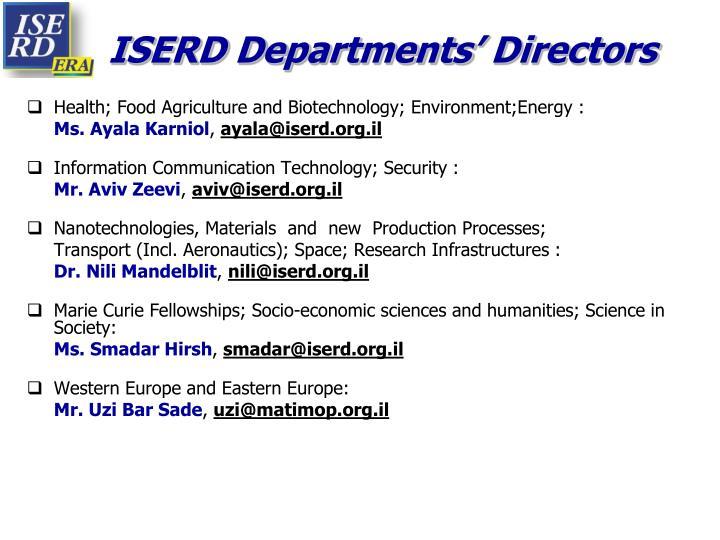 ISERD Departments' Directors