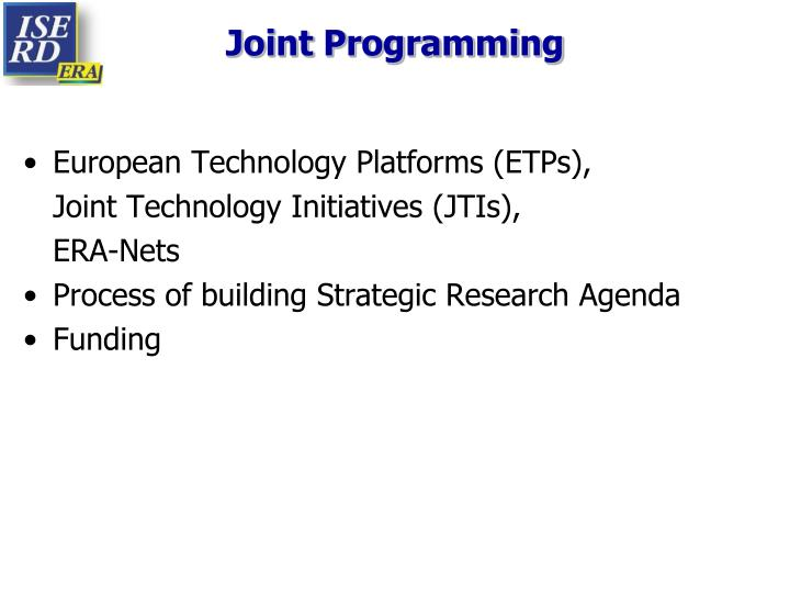 Joint Programming