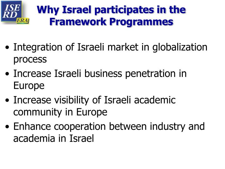Why Israel participates in the