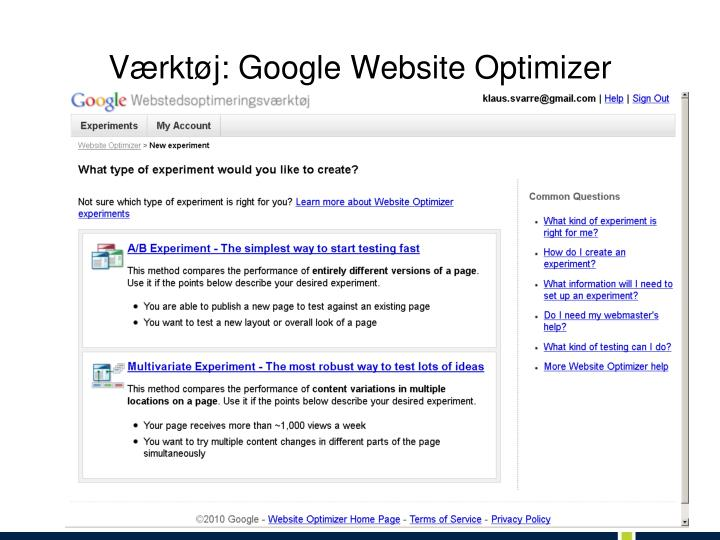 V rkt j google website optimizer