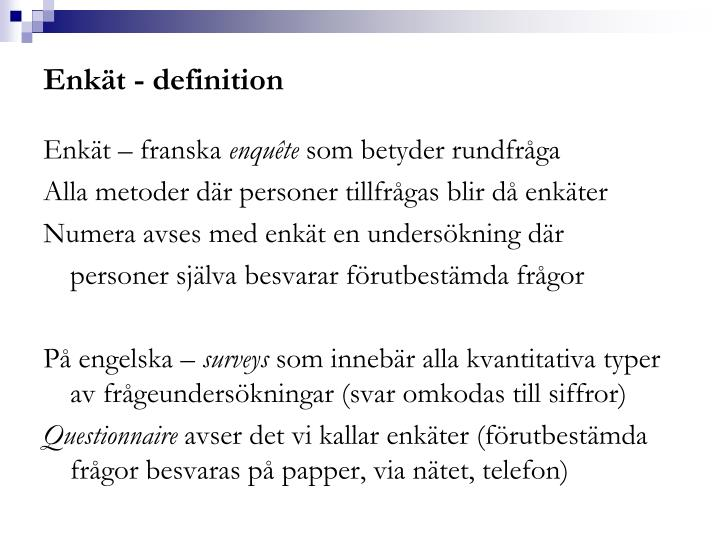 Enkät - definition
