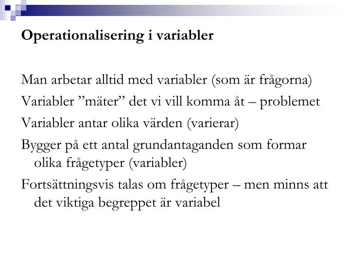 Operationalisering i variabler